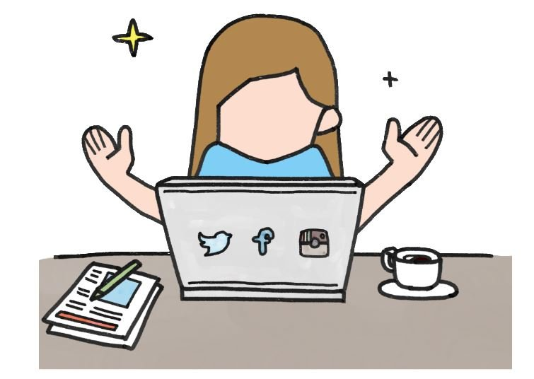 girl sitting  behind a desk  with a laptop in a quandary about social media