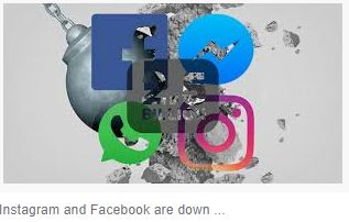 Facebook, instagram and whats app down